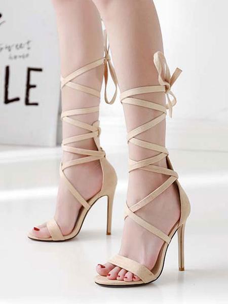 Milanoo Women\s Pumps Open Toe Stiletto Heel Chic Adjustable Sandals