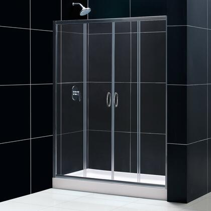 DL-6960C-04CL Visions 30 In. D X 60 In. W Sliding Shower Door In Brushed Nickel With Center Drain White Acrylic Shower Base