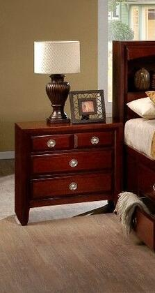 Beverley Collection BE100N Nightstand with 4 Drawer and Metal Glides in Cherry
