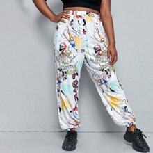 Pantalones con estampado de letra