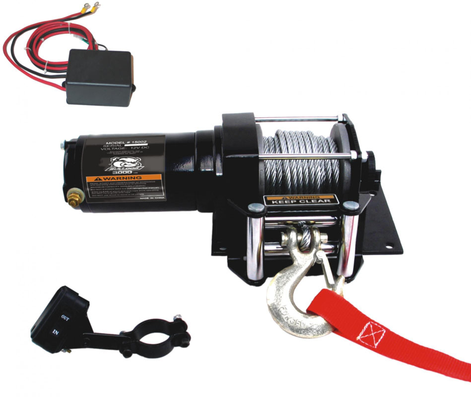 Bulldog Winch 15002 2,000 LB ATV Winch 40 Ft Synthetic Rope W/Mini Rocker Switch Mounting Channel Roller Fairlead