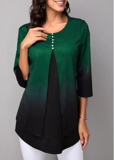 Layered Hem Button Detail Gradient T Shirt - XL
