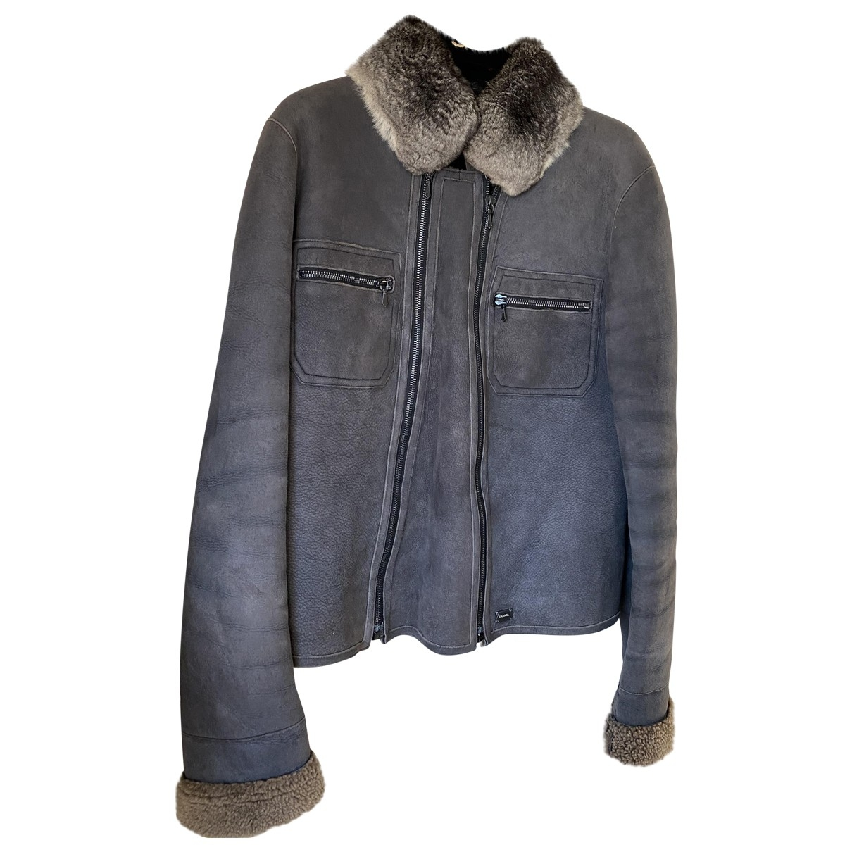 Chanel \N Grey Leather jacket for Women 38 FR