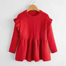 Toddler Girls Cable Knit Ruffle Trim Knit Dress