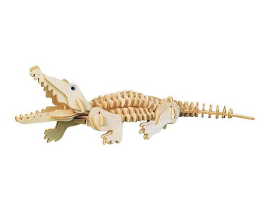 G-M013 Mini Crocodile Model 3D DIY Wooden Animal Puzzles Safe Friendly-environmental Simulation Intelligence Toys For Kids