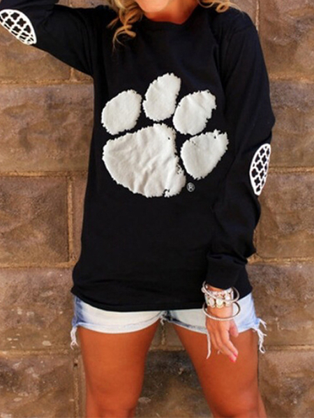 Yoins Footprint Crew Neck Long Sleeves Sweatshirt