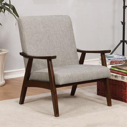 Deena Collection CM-AC5708LG Accent Chair with Mid-Century Modern Style  Curved Wooden Arms  Wood Frame Construction and Fabric Upholstery in Light