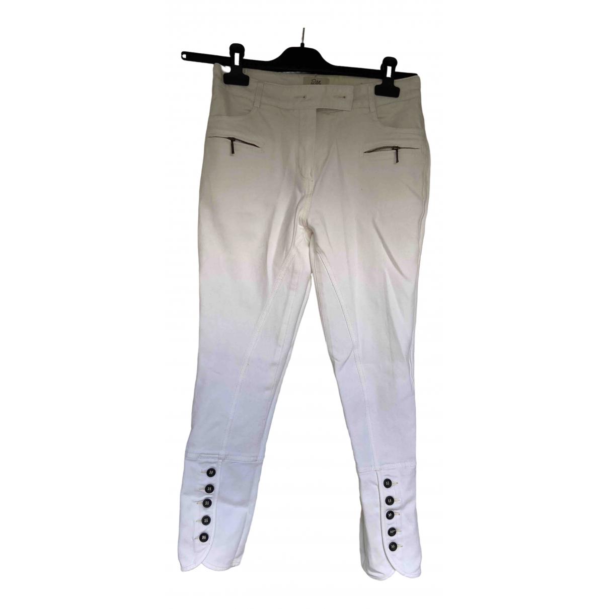 Gerard Darel \N White Cotton Trousers for Women 38 FR