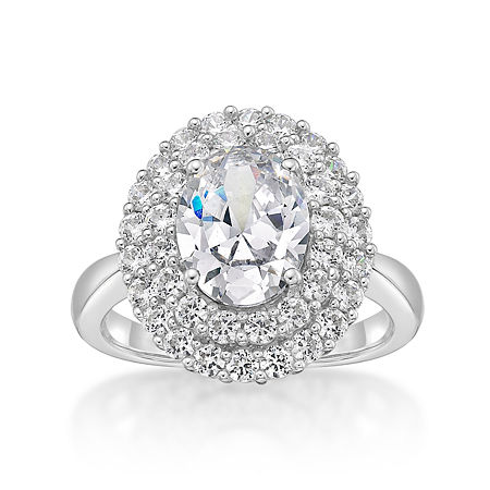 DiamonArt Womens 4 1/4 CT. T.W. White Cubic Zirconia Sterling Silver Cocktail Ring, 7 , No Color Family