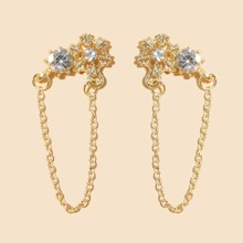 Rhinestone Decor Drop Earrings