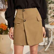 Button Front Solid Straight Skirt