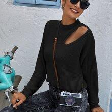 Strick Pullover mit Stehkragen und Ausschnitt vorn
