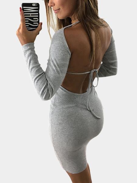 Yoins Grey Backless Design Long Sleeves Bodycon Dress