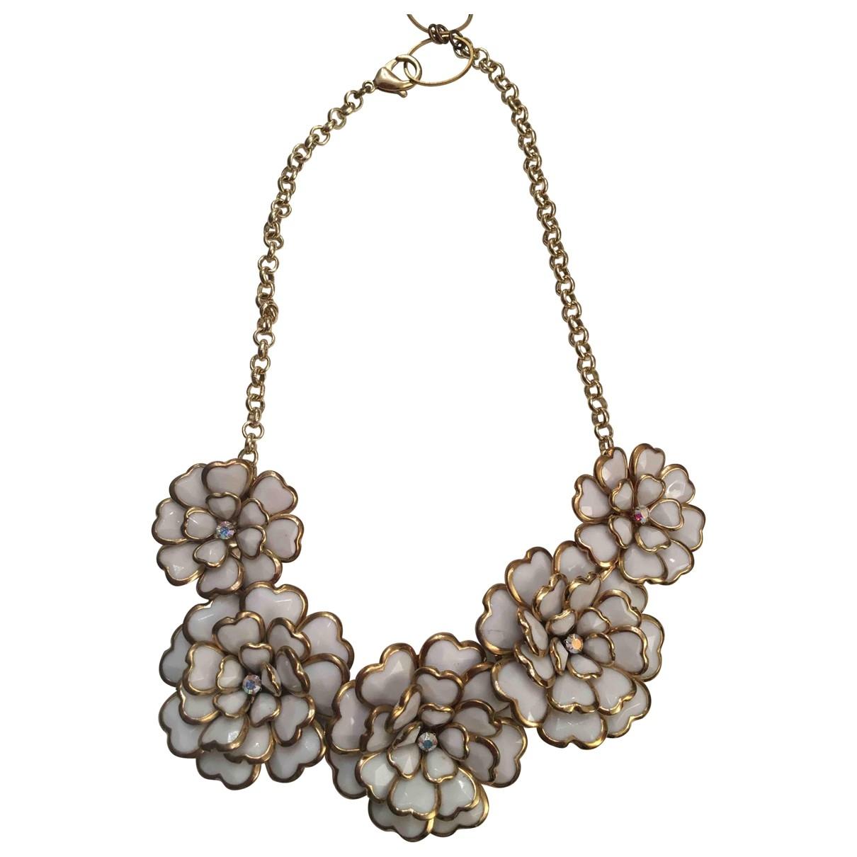- Collier Motifs Floraux pour femme en ceramique - blanc