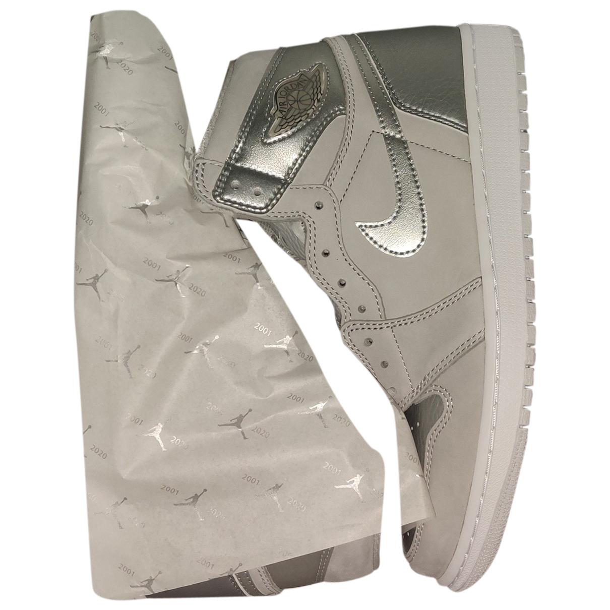 Jordan - Bottes.Boots Air Jordan 1  pour homme en cuir - argente