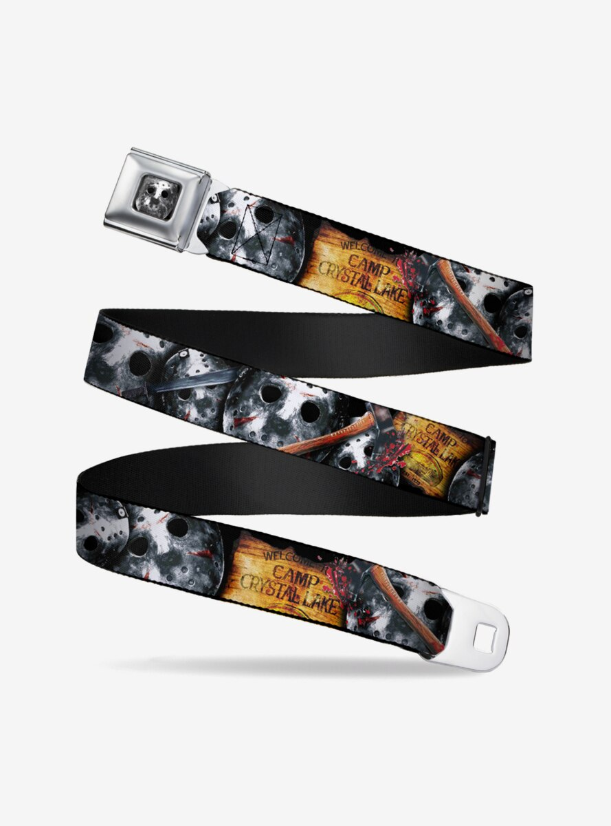 Friday The 13th Welcome To Camp Crystal Lake Jason Mask Axe Seatbelt Belt