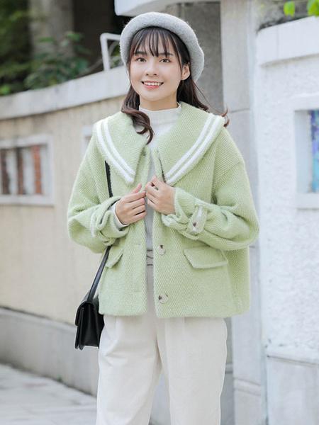 Milanoo Academic Lolita Coats Green Overcoat Long Sleeve Polyester Winter Lolita Outwears