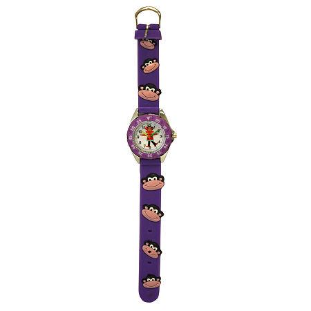 Olivia Pratt Kid's Monkey Time- Teacher Purple Strap Watch-17193, One Size , No Color Family