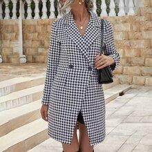 Tweed Mantel mit zwei Knopfen und Hahnentritt Muster