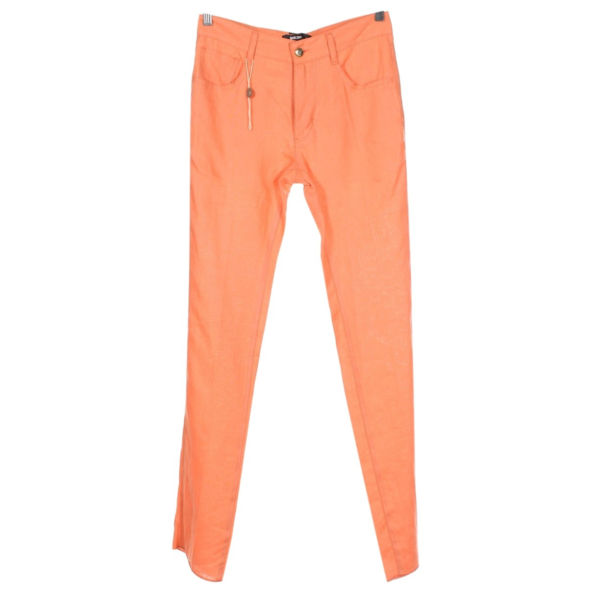 Just Cavalli \N Orange Linen Trousers for Women 38 IT
