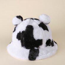 3D Ears Cow Print Fluffy Bucket Hat
