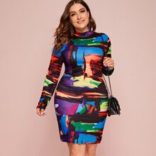 Plus Brush Stroke Print Bodycon Dress