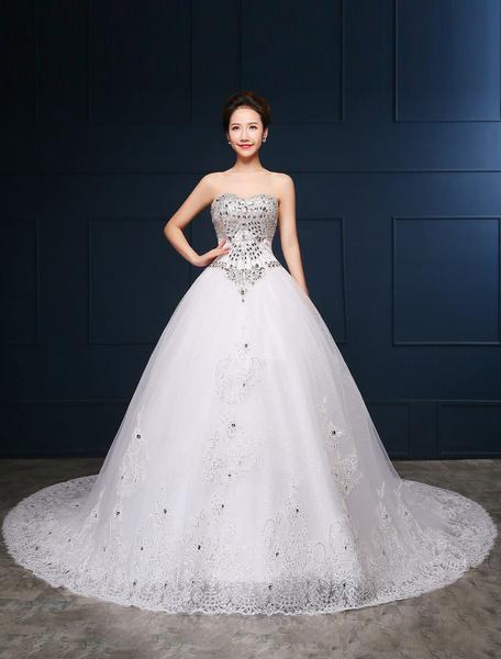 Milanoo Vestido de novia princesa Con cola con escote palabra de honor sin mangas De banda de encaje de linea A