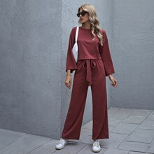 Drop Shoulder Rib-knit Top & Belted Pants Set