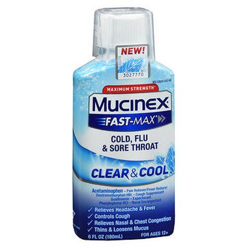 Mucinex FastMax Cold  Flu & Sore Throat Clear & Cool Liquid 6 Oz by Mucinex