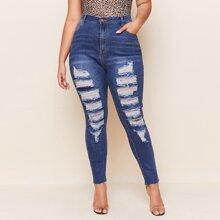 Jeans mit Riss Detail und Bleichen Waschung