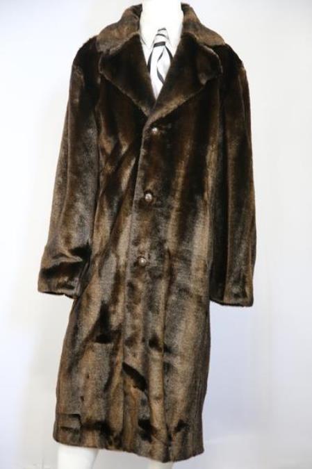 Mens Faux Bear Pelt Button Brown Notched Lapel Long Zoot Suit