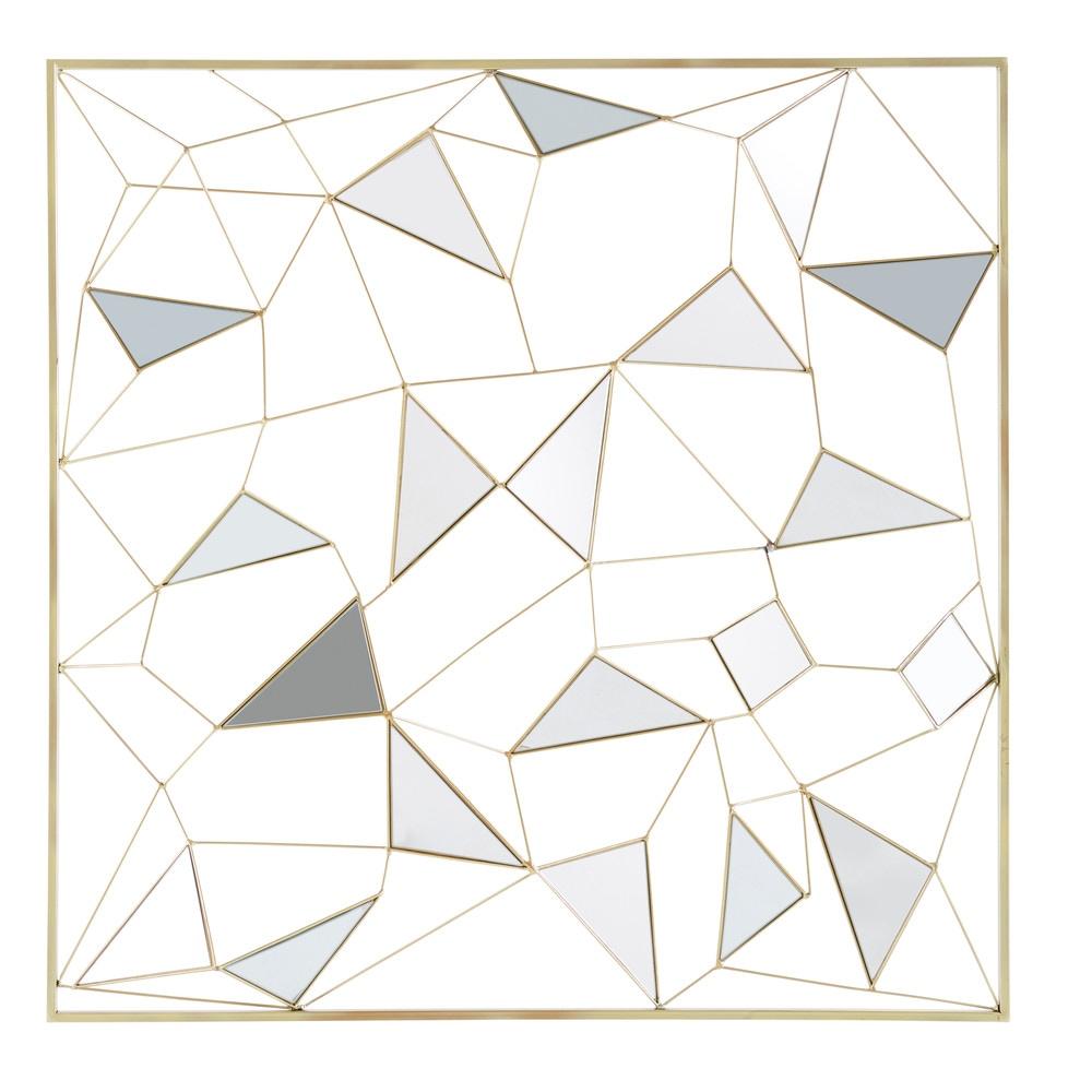 Spiegel-Wanddeko, goldfarbenes Metall, 98x98