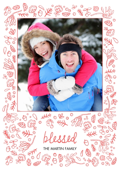 Religious Christmas Cards 5x7 Cards, Premium Cardstock 120lb with Elegant Corners, Card & Stationery -Bountifully Blessed