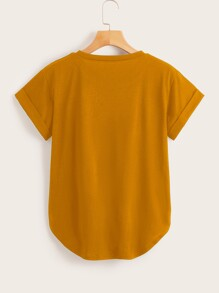 Basic Solid Rolled Cuff Curved Tee