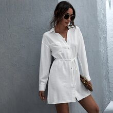 Patch Pocket Button Front Self Belted Shirt Dress