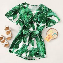 Girls Surplice Neck Self Belted Tropical Print Romper