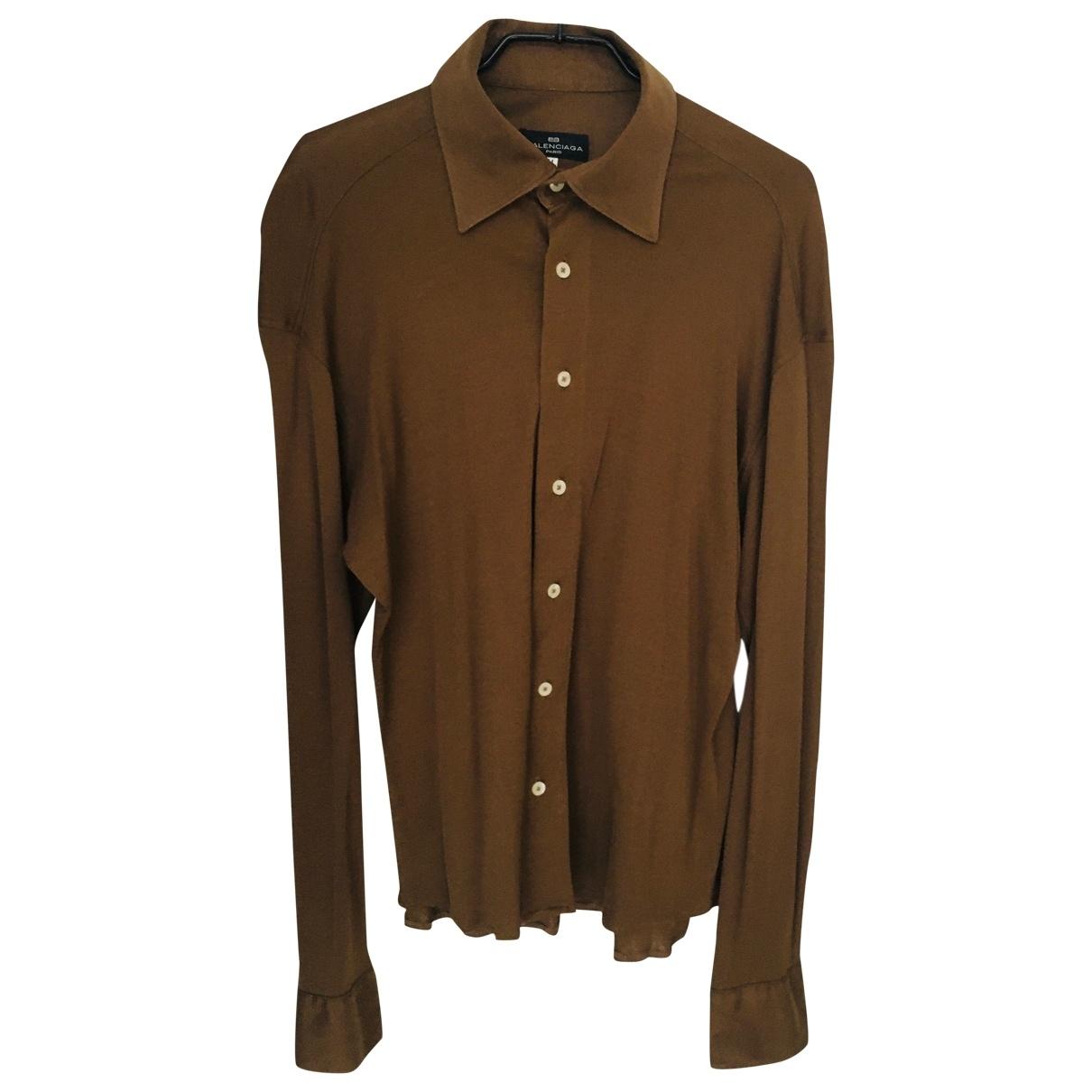 Balenciaga \N Khaki Cotton Shirts for Men 41 EU (tour de cou / collar)