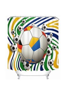 Colorful Word wild Footballs Printing Bathroom 3D Shower Curtain