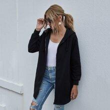 Slant Pocket Front Drawstring Zip Up Hooded Sweatshirt