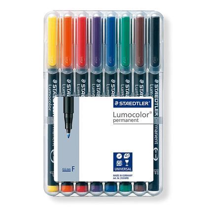 Staedtler@ Lumocolor@ Permanent Universal Marker Pen - Fine point, set of 8 48868