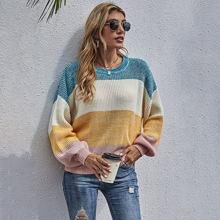 Jersey de hombros caidos de color combinado