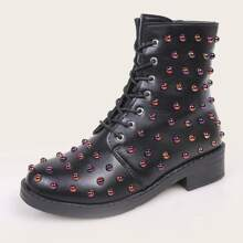 Allover Studded Decor Combat Boots