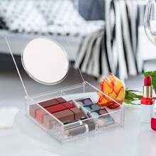 1pc Clear Cosmetic Storage Box With Mirror