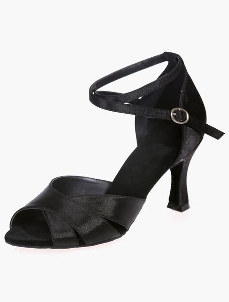 Milanoo Talla zapatos de salon de saten negro para las mujeres