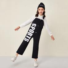 Girls Button Front Patch Pocket Letter Graphic Overalls