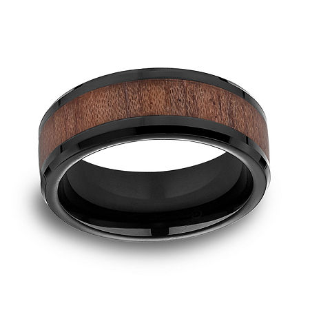 Mens Comfort Fit 8mm Black Cobalt with Rosewood Inlay Wedding Band, 8 , No Color Family