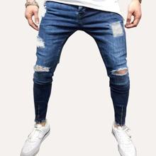 Maenner Schmale Jeans mit Reissverschluss und Rissen