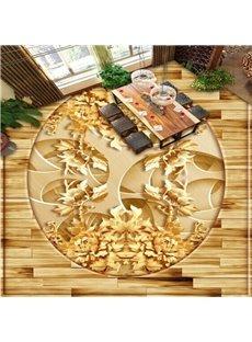 Golden Flower Pattern Living Room Decoration Waterproof Splicing 3D Floor Murals