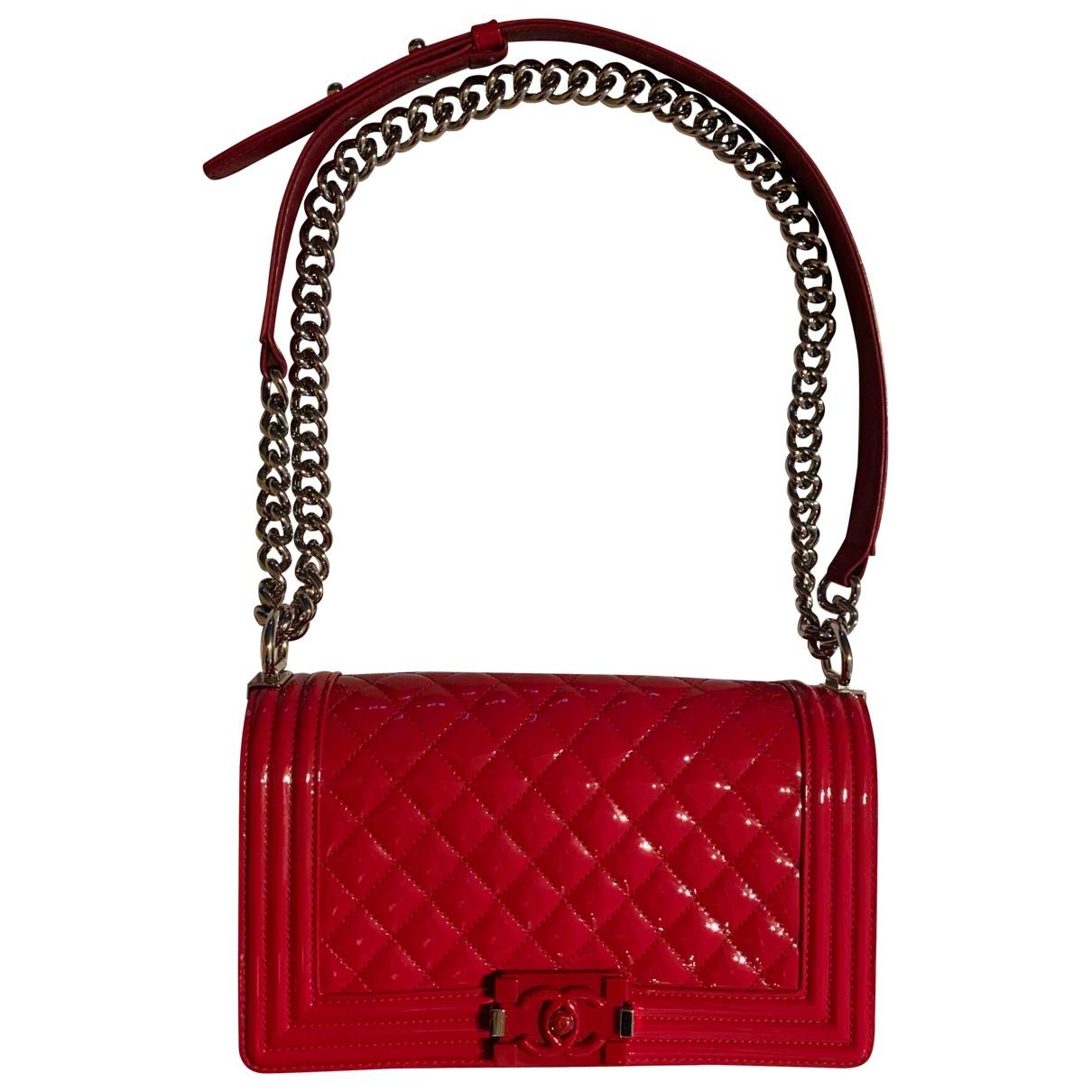 Chanel - Sac a main Boy pour femme en cuir verni - rouge