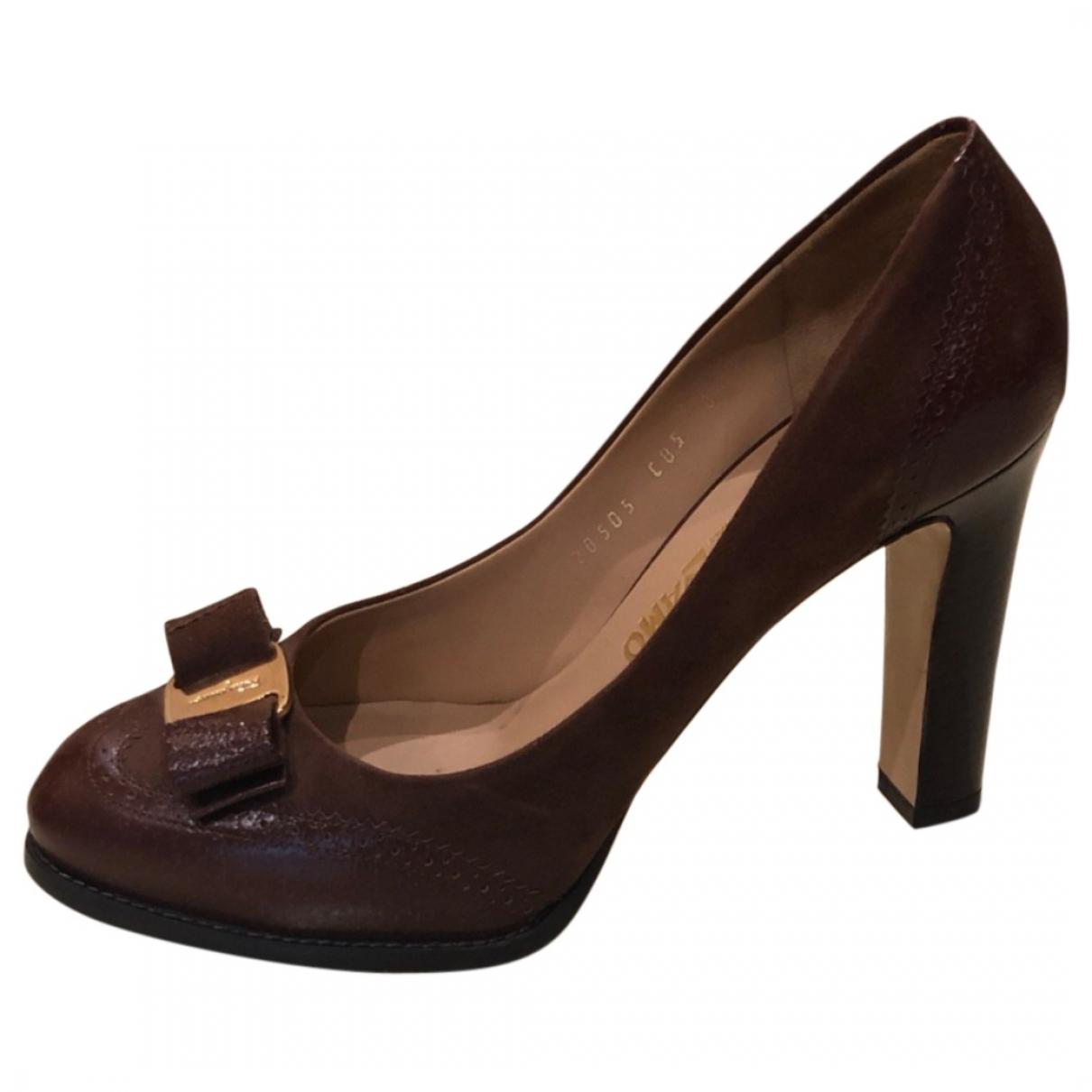 Salvatore Ferragamo \N Brown Suede Heels for Women 38.5 EU
